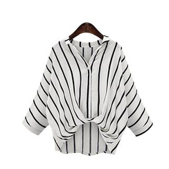 GRACI - Pinstriped Batwing Top