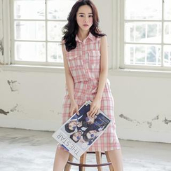 Tokyo Fashion - Sleeveless Plaid Shirtdress