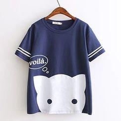 白金天使 - 貓印花短袖T恤