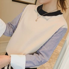 Champi - Striped Mock Two-Piece Pullover