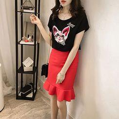 Little V - Set: Cat Embroidered Short Sleeve T-Shirt + Frill Hem Pencil Skirt