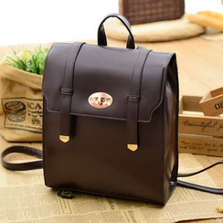 Vintage Kiss - Twist Lock Faux Leather Backpack
