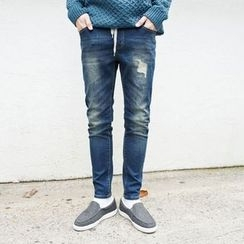 TOMONARI - Drawstring-Waist Distressed Tapered Jeans
