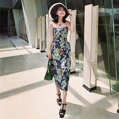Apalili - Strapless Floral Sheath Midi Dress