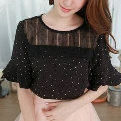 Tokyo Fashion - Short-Sleeve Paneled Dotted Top