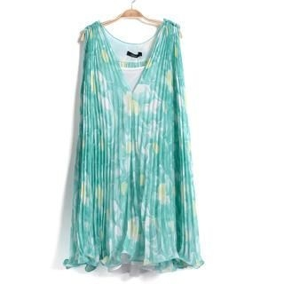 9mg - Pleated Floral Sleeveless Top with Camisole