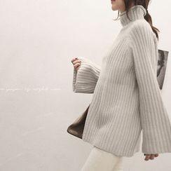 NANING9 - High-Neck Rib-Knit Sweater