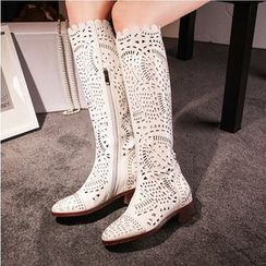 Shoes Galore - Perforated Tall Boots
