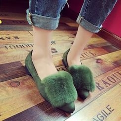 Yoflap - Furry Trim Pointed Flats