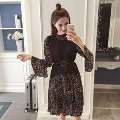 Twinkle Star - Set: Long-Sleeve Chiffon Floral Dress + Knit Vest