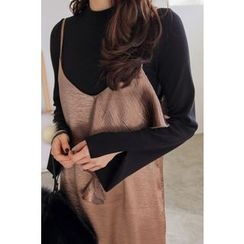 PPGIRL - Mock-Neck Slit-Sleeve Top