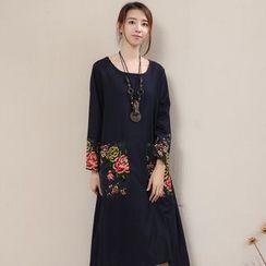 Diosa - Long-Sleeve Floral Linen Dress