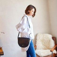 Seoul Fashion - Ruffle-Trim Mini Shirtdress