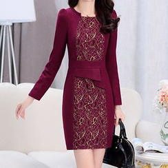 Romantica - Wool Blend Long-Sleeve Lace Panel Dress