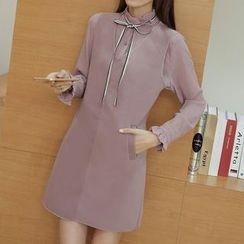 Ashlee - Set: Frill Collar Tie Neck Shirt + Plain Pinafore Dress