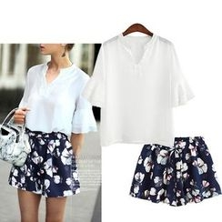 Bravo - Set: Open Placket Chiffon Blouse + Floral Print Shorts
