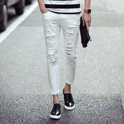 Croni - 做舊修身褲