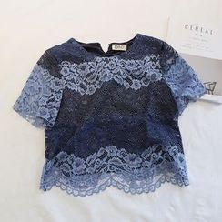 微米家 - 撞色短袖蕾丝T恤