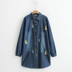 Angel Love - Embroidered Denim Long Shirt