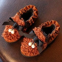 绿豆蛙童鞋 - 童装荷叶边毛毛拼接乐福鞋