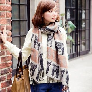 CatWorld - Printed Color-Block Fringed Scarf