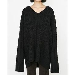 Someday, if - V-Neck Oversized Cable-Knit Sweater