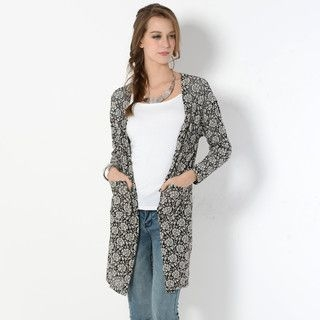 YesStyle Z - Floral Mesh Open-Front Cardigan