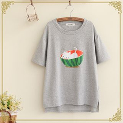 Fairyland - Cat Print Short-Sleeve T-Shirt