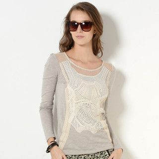 YesStyle Z - Crochet Overlay Panel Long-Sleeved T-Shirt