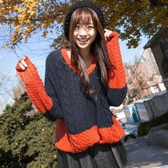 OrangeBear - Contrast-Color Cable-Knit Sweater