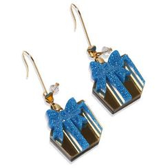 Sweet & Co. - Glitter Blue Present Dangle Gold Earrings