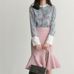 UPTOWNHOLIC - Mandarin-Collar Floral Print Shirt