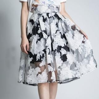 LULUS - Floral Tulle Midi Skirt