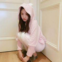Karnel - Pajama Set: Rabbit Ear Hooded Coral Fleece Top + Pants