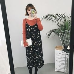 small dots - Floral Print Strap Chiffon Dress