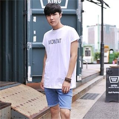 MITOSHOP - Cap-Sleeve Lettering T-Shirt