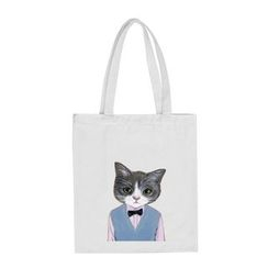 DUYU - Cat Printed Canvas Shopper Bag