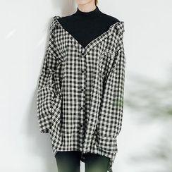 Heynew - Plaid Mock Two-Piece Long Sleeve Top