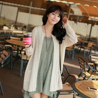 CLICK - Cable-Knit Open-Front Cardigan