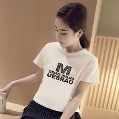 SUYISODA - Lettering Short-Sleeve T-Shirt