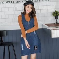 OrangeBear - Zippered Denim Jumper Dress