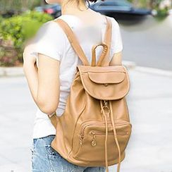 miim - Drawstring Flap Faux Leather Backpack