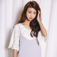 Porta - V-Neck Dotted Elbow Bell Sleeve Blouse