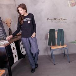 RingBear - Button-Accent Drawstring Oversized Casual Pants
