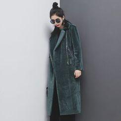 Sonne - 加厚大翻领马毛中长大衣+腰带