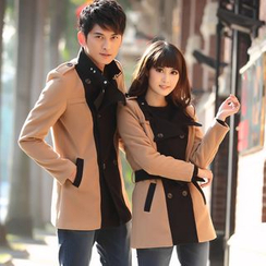 Igsoo - Couple Matching Double-Breasted Coat