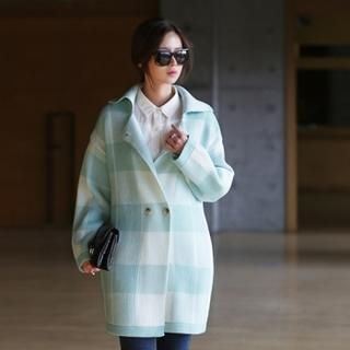 Jcstyle - Checked Knit Coat