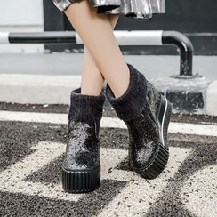 Anran - Sequined Platform Short Boots