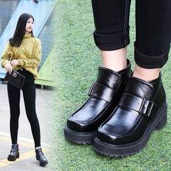 安若 - 飾扣厚底及踝靴