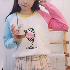Cloud Nine - Ice Cream Embroidered Color Block Sweatshirt